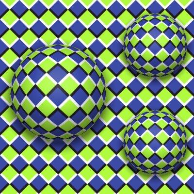 Canvastavlor Bollar rulla ner. Abstrakt vektor sömlösa mönster med optisk illusion av rörelse.
