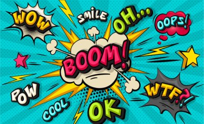 Canvastavlor Boom pop art cloud bubble. Smile, wow, pow, cool, ok, oops, wtf funny speech bubble. Trendy Colorful retro vintage background in pop art retro comic style. Illustration easy editable for Your design.