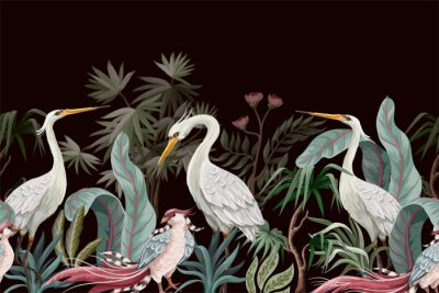 Canvastavlor Border in chinoiserie style with storks and peonies. Vector.