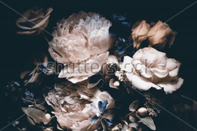 Canvastavlor bouquet of pink peonies, dark background,