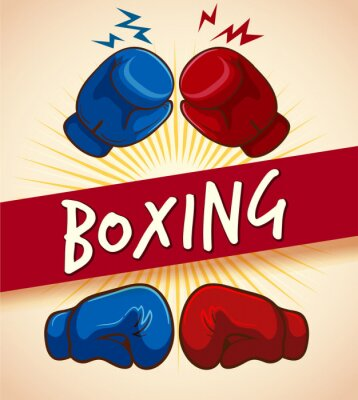 Canvastavlor Boxhandskar och banner