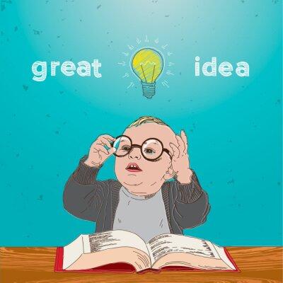 Canvastavlor Bra idé, unge med bok och glödlampa över huvudet