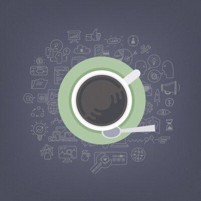 Canvastavlor Brainstorming idéer med kaffe illustration