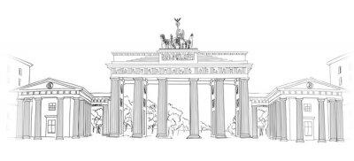 Canvastavlor Brandenburger Tor. Berlin arch symbol. Handritad ritar skissar vektorillustration isolerade på vit bakgrund