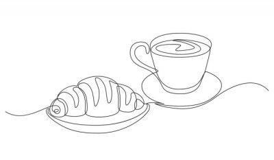 Canvastavlor breakfast with croissant and coffee drawn in one line style.