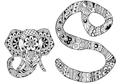 Canvastavlor brev S inrett i stil med mehndi