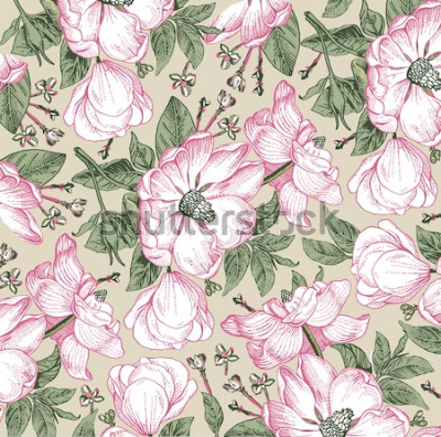 Canvastavlor Brier, hundros, ros höft. Klassiskt mönster. Härlig vit realistisk blommande isolerade blommorbarock. Vintage bakgrund. Ritningsgravering. Freehand tapeter. Vector viktoriansk stil illustration.