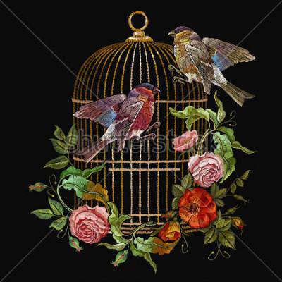Canvastavlor Broderfåglar och fåglar bur och blommor vector. Klassisk broderi tulpan och titmouse, gyllene bur, vintage knoppar av vilda rosor. Vårt modekonst, mall för design av kläder, t-shirt