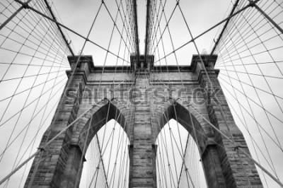 Canvastavlor Brooklyn Bridge New York City nr bild arkitektoniska detaljer i tidlös svart och vitt