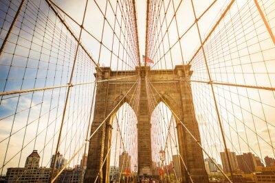 Canvastavlor Brooklyn Bridge och Manhattan skyline