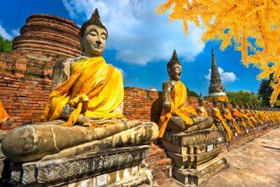 Canvastavlor Buddhastatyerna i Ayutthaya, Thailand,