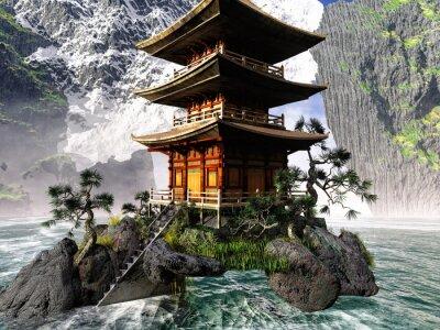 Canvastavlor Buddistiskt tempel i Klippiga bergen