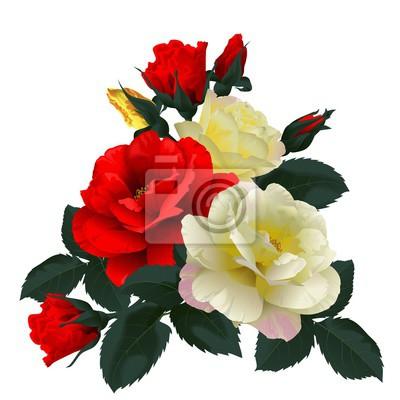 Canvastavlor Bukett av röda och gula rosor, isolerad på vitt