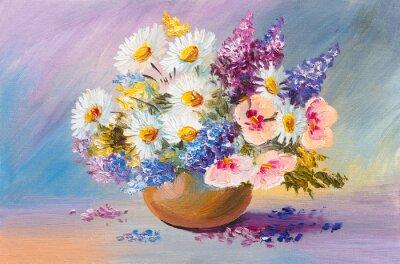 Canvastavlor bukett sommarblommor, stilleben oljemålning