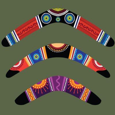 Canvastavlor Bumeranger med aboriginal designen