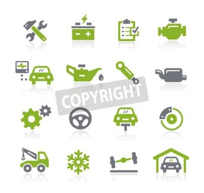 Canvastavlor Car Service ikoner - Natura serien
