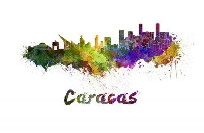 Canvastavlor Caracas skyline i vattenfärg