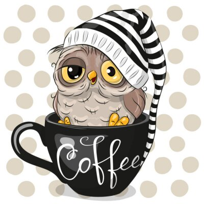 Canvastavlor Cartoon owl is sitting in a Cup of coffee