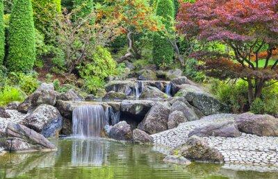 Canvastavlor Cascade vattenfall i japanska trädgården i Bonn
