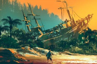 Canvastavlor Castaway man står på ön stranden med övergivna båt vid solnedgången, illustration målning