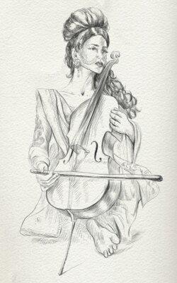 Canvastavlor Cello spelare. Freehand skiss. Fullstor, orginal.