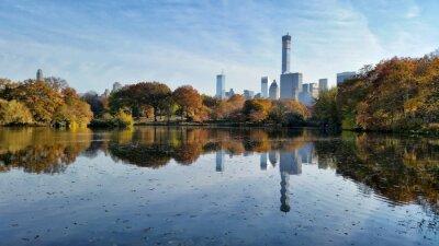 Canvastavlor Central Park höst landskap reflektion i New York