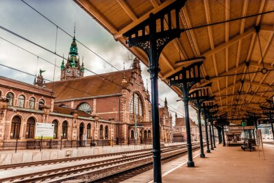 Canvastavlor Centralstationen i Gdansk