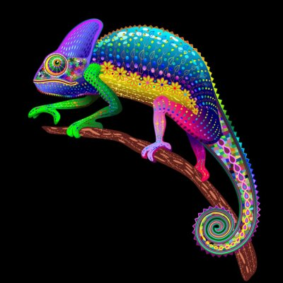 Canvastavlor Chameleon Fantasy Regnbågens färger