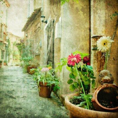 Canvastavlor charmiga innergårdar, retro stil bild