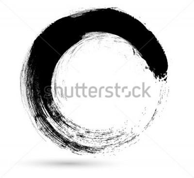Canvastavlor Circle Brush Stroke. Vector Logo Design Mall. Twirl Grunge Former.