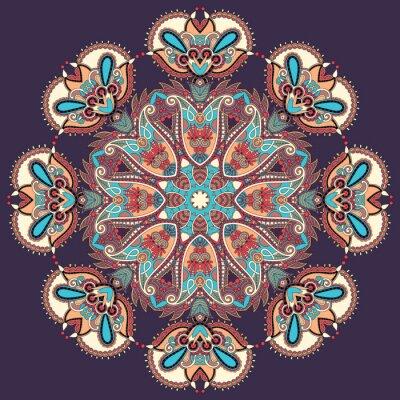 Canvastavlor Cirkel spets prydnad, runda dekorativa geometriska duken mönster