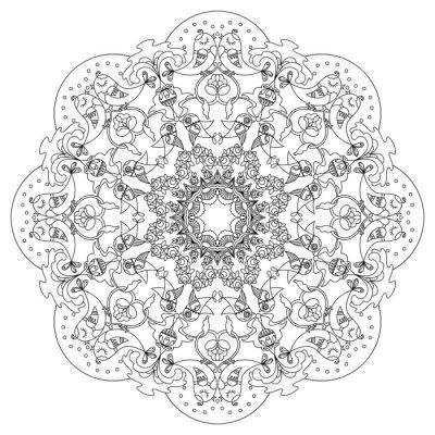 Canvastavlor Cirkulärt mönster med fåglar och blommor i klotter stil