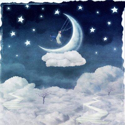 Canvastavlor City of barn på fantastiska moln på himlen