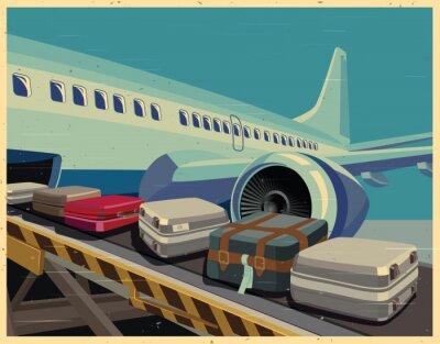 Canvastavlor civila flygplan och bagage gammal affisch