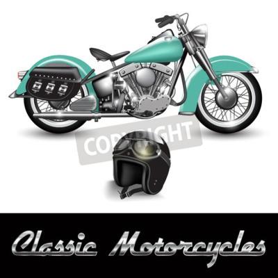 Canvastavlor Classic motorcykel och hjälm med skyddsglasögon. vektor illustration