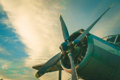 Canvastavlor Cockpit av det gamla planet. Övergivna flygplan