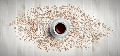Canvastavlor Coffee concept on wooden background - white coffee cup, top view with doodle illustration about coffee, beans, morning, espresso in cafe, breakfast. Morning coffee vector illustration. Hand draw and