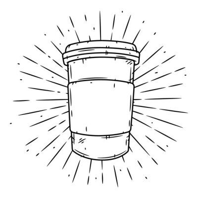 Canvastavlor Coffee cup. Hand drawn vector illustration with coffee cup and divergent rays.