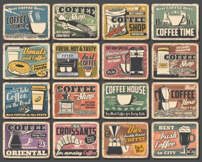 Canvastavlor Coffee cups and espresso machine grunge posters of cafe vector design. Hot drink and beverage mugs with cappuccino, latte and mocha, coffee bean grinder, pot and paper cup, croissant, sugar and milk