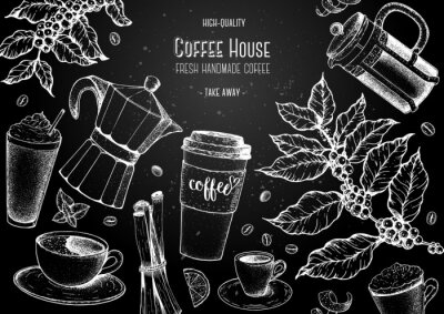 Canvastavlor Coffee cups, beans and coffee tree illustration. Vintage design for coffee shop. Engraved vector illustration.