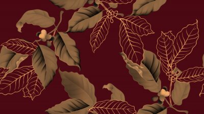 Canvastavlor Coffee tree seamless pattern, branch of coffee tree in golden brown on dark red background, vintage style