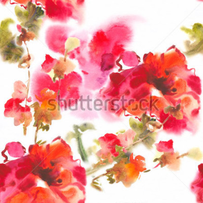 Canvastavlor Color illustration of flowers in watercolor paintingsAlbum