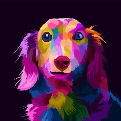 Canvastavlor colorful dog pop art portrait vector