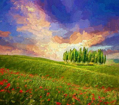 Canvastavlor Colorful evening sunset with famous group of cypress tress and red poppy flowers on the rolling hills in summer time at Tuscany, Italy.- oil painting.