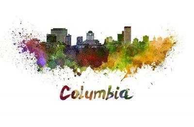 Canvastavlor Columbia horisont vattenfärg stänker med klippning