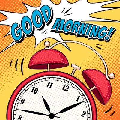 Canvastavlor Comic illustration med väckarklocka i popkonststil