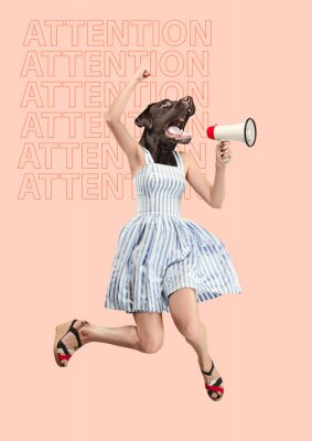 Canvastavlor Contemporary art collage or portrait of surprised dog headed woman. Modern style pop zine culture concept. Woman screaming with a megaphone. Business processes, message, speaker, communication