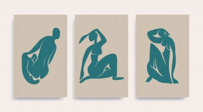 Canvastavlor Contemporary Henri Matisse abstract vector poster. Woman nude figure sitting silhouette line art Matisse painting. Pastel reproduction of painting. Geometric shape collage.