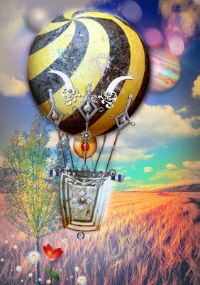 Canvastavlor Corn klas och träd med steampunk luftballong