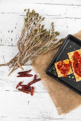 Canvastavlor Cracker med rostad paprika, chili peppar och oregano